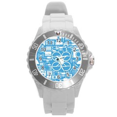 Drones Registration Equipment Game Circle Blue White Focus Round Plastic Sport Watch (l) by Mariart
