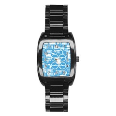 Drones Registration Equipment Game Circle Blue White Focus Stainless Steel Barrel Watch by Mariart