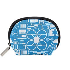 Drones Registration Equipment Game Circle Blue White Focus Accessory Pouches (small)  by Mariart