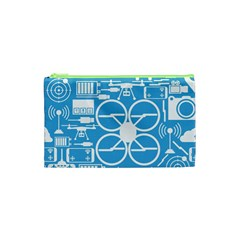 Drones Registration Equipment Game Circle Blue White Focus Cosmetic Bag (xs) by Mariart