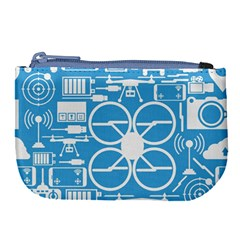 Drones Registration Equipment Game Circle Blue White Focus Large Coin Purse by Mariart