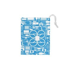 Drones Registration Equipment Game Circle Blue White Focus Drawstring Pouches (xs)  by Mariart