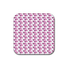 Heart Love Pink Purple Rubber Square Coaster (4 Pack)  by Mariart