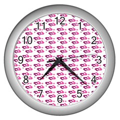 Heart Love Pink Purple Wall Clocks (silver)  by Mariart