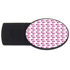 Heart Love Pink Purple Usb Flash Drive Oval (2 Gb) by Mariart