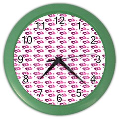 Heart Love Pink Purple Color Wall Clocks