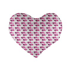 Heart Love Pink Purple Standard 16  Premium Flano Heart Shape Cushions by Mariart