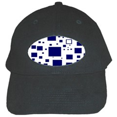 Illustrated Blue Squares Black Cap by Mariart