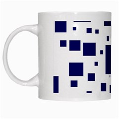 Illustrated Blue Squares White Mugs by Mariart