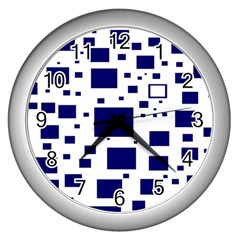 Illustrated Blue Squares Wall Clocks (silver)  by Mariart