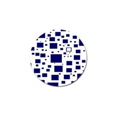 Illustrated Blue Squares Golf Ball Marker by Mariart