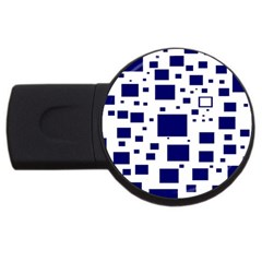 Illustrated Blue Squares Usb Flash Drive Round (4 Gb) by Mariart