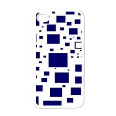Illustrated Blue Squares Apple Iphone 4 Case (white) by Mariart