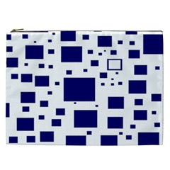 Illustrated Blue Squares Cosmetic Bag (xxl)  by Mariart