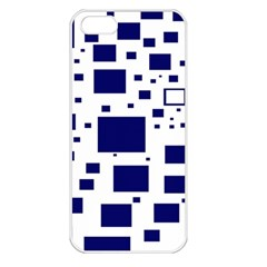 Illustrated Blue Squares Apple Iphone 5 Seamless Case (white) by Mariart