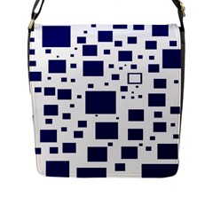 Illustrated Blue Squares Flap Messenger Bag (l)  by Mariart