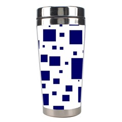 Illustrated Blue Squares Stainless Steel Travel Tumblers by Mariart