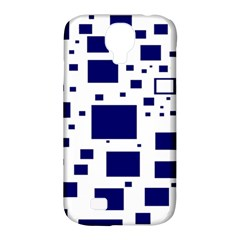 Illustrated Blue Squares Samsung Galaxy S4 Classic Hardshell Case (pc+silicone) by Mariart