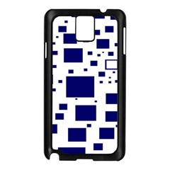 Illustrated Blue Squares Samsung Galaxy Note 3 N9005 Case (black) by Mariart