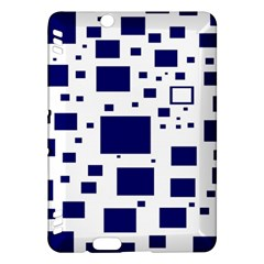 Illustrated Blue Squares Kindle Fire Hdx Hardshell Case by Mariart