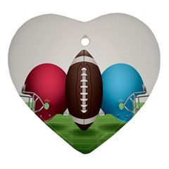 Helmet Ball Football America Sport Red Brown Blue Green Ornament (heart) by Mariart