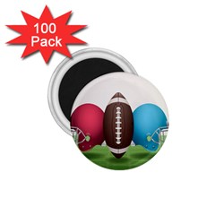 Helmet Ball Football America Sport Red Brown Blue Green 1 75  Magnets (100 Pack)  by Mariart