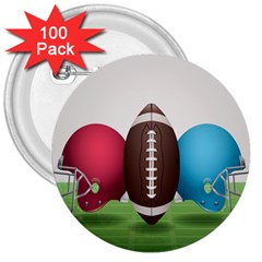 Helmet Ball Football America Sport Red Brown Blue Green 3  Buttons (100 Pack)  by Mariart