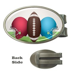 Helmet Ball Football America Sport Red Brown Blue Green Money Clips (oval)  by Mariart