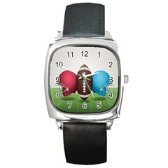 Helmet Ball Football America Sport Red Brown Blue Green Square Metal Watch by Mariart