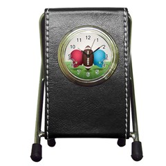 Helmet Ball Football America Sport Red Brown Blue Green Pen Holder Desk Clocks by Mariart