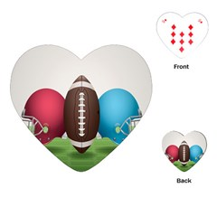 Helmet Ball Football America Sport Red Brown Blue Green Playing Cards (heart)  by Mariart