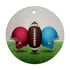 Helmet Ball Football America Sport Red Brown Blue Green Round Ornament (two Sides) by Mariart