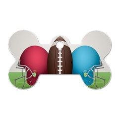 Helmet Ball Football America Sport Red Brown Blue Green Dog Tag Bone (two Sides) by Mariart