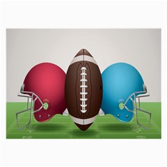 Helmet Ball Football America Sport Red Brown Blue Green Large Glasses Cloth (2 Side) by Mariart