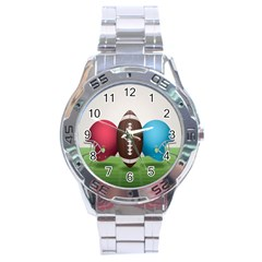 Helmet Ball Football America Sport Red Brown Blue Green Stainless Steel Analogue Watch by Mariart