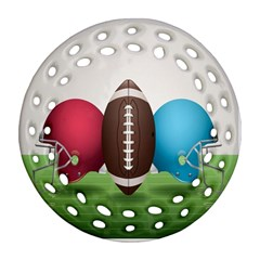 Helmet Ball Football America Sport Red Brown Blue Green Round Filigree Ornament (two Sides) by Mariart