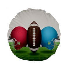 Helmet Ball Football America Sport Red Brown Blue Green Standard 15  Premium Round Cushions by Mariart