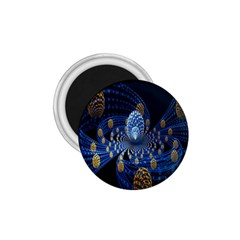Fractal Balls Flying Ultra Space Circle Round Line Light Blue Sky Gold 1 75  Magnets by Mariart