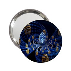Fractal Balls Flying Ultra Space Circle Round Line Light Blue Sky Gold 2 25  Handbag Mirrors by Mariart