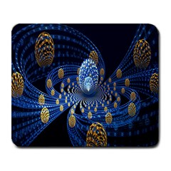 Fractal Balls Flying Ultra Space Circle Round Line Light Blue Sky Gold Large Mousepads by Mariart