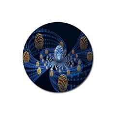 Fractal Balls Flying Ultra Space Circle Round Line Light Blue Sky Gold Magnet 3  (round) by Mariart