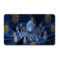 Fractal Balls Flying Ultra Space Circle Round Line Light Blue Sky Gold Magnet (rectangular) by Mariart