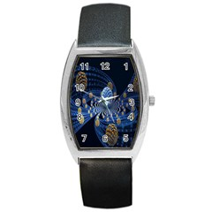 Fractal Balls Flying Ultra Space Circle Round Line Light Blue Sky Gold Barrel Style Metal Watch by Mariart