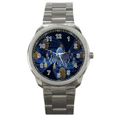Fractal Balls Flying Ultra Space Circle Round Line Light Blue Sky Gold Sport Metal Watch by Mariart