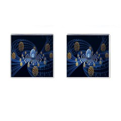 Fractal Balls Flying Ultra Space Circle Round Line Light Blue Sky Gold Cufflinks (square) by Mariart