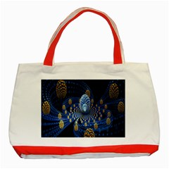 Fractal Balls Flying Ultra Space Circle Round Line Light Blue Sky Gold Classic Tote Bag (red) by Mariart