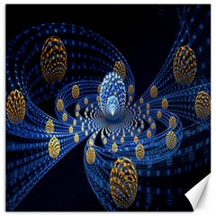 Fractal Balls Flying Ultra Space Circle Round Line Light Blue Sky Gold Canvas 20  X 20   by Mariart