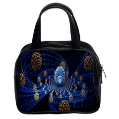 Fractal Balls Flying Ultra Space Circle Round Line Light Blue Sky Gold Classic Handbags (2 Sides) by Mariart
