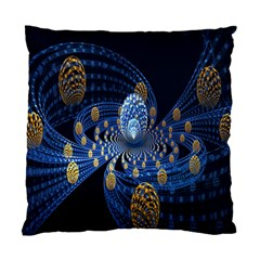 Fractal Balls Flying Ultra Space Circle Round Line Light Blue Sky Gold Standard Cushion Case (one Side) by Mariart