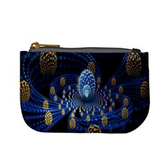 Fractal Balls Flying Ultra Space Circle Round Line Light Blue Sky Gold Mini Coin Purses by Mariart